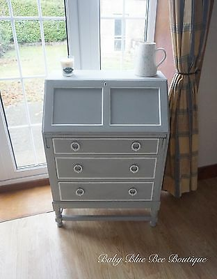Grey Writing Bureau Desk Shabby Chic Antique