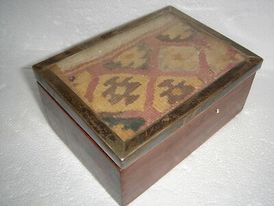 RARE PERU MUMMY CLOTH BOX PERUVIAN TEXTILE SILVER GLASS LID EXOTIC WOOD No.4