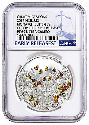 2016 Niue $2 1 oz Silver Great Migrations Monarch Butterfly NGC PF69 ER SKU43932
