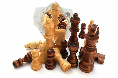 CHESS - Set Of 32 Wooden Parts,Pieces - king size 3.5 Inch (8.8 Cm)