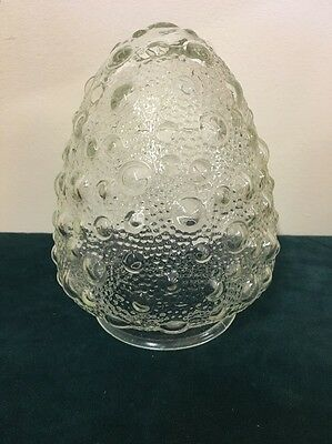 Vintage Clear Textured Glass Globe Light Fixture Cover Tear Drop