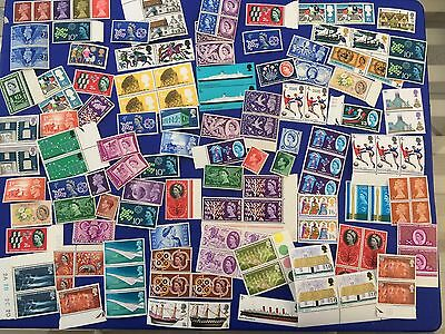 Job Lot of Pre Decimal Mixed GB Stamps mainly Mint Ones Single and odd Blocks