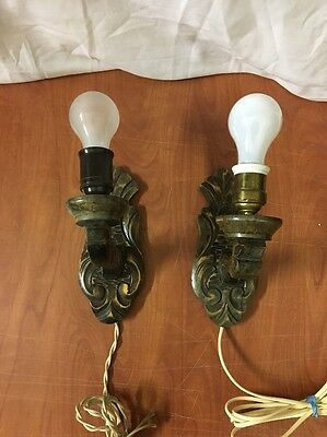 Vintage Pair Of Carved Wood Electric Wall Sconce Lights