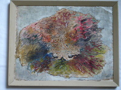 Original oil/acrylic painting on board-weird abstract thing-with artist details