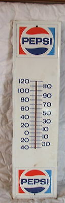 Vintage Large Pepsi metal advertising thermometer Stout Sign Co. Works!
