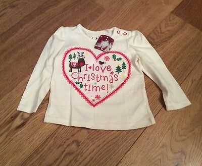 Baby Girls Christmas Long Sleeve T-Shirt Up To 3 Months BNWT