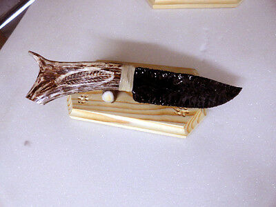 Black Obsidian Knife, Tipped Handle 12 1/2 inches long