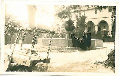 MONKS Wooden Cart MONASTERY Fountain Real Photo PC c1930s