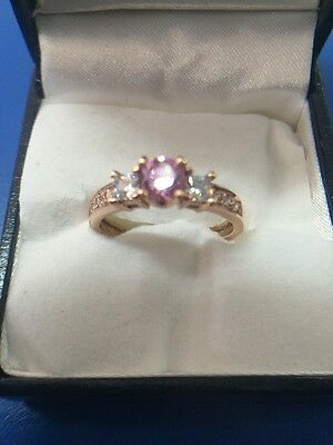 Gorgeous 9ct Rose Gold Ring. Simulated Diamonds.