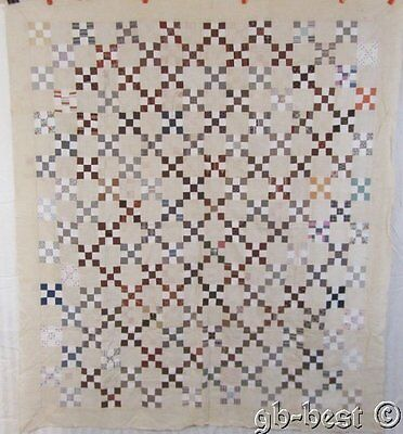 Antique Postage Stamp Quilt Top MADDER Browns c 1860/70s