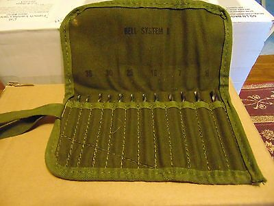 Vintage Bell telephone installers PTD drill bit set-complete with canvas cover-