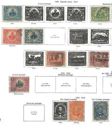 9 Haiti Stamps from Quality Old Album 1906-1912