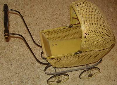 Antique  Wicker  Doll  Buggy!