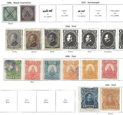 13 Honduras Stamps from Quality Old Album 1866-1891