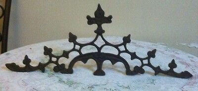 "BEAUTIFUL HEAVY ANTIQUE CAST WROUGHT IRON DOOR WINDOW TOPPER PEDIMENT 28""x11"""