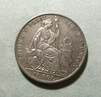 1929 PERU HUGE COIN - 1/2 SOL - 50% Silver - Great Standing!