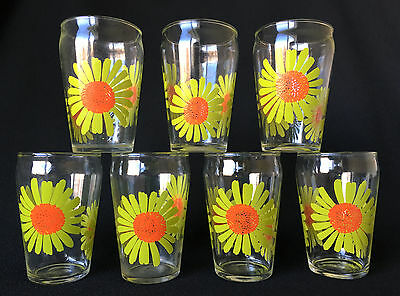 Dominion Glass Canada Set Of 7 Vintage Juice Glasses Yellow Daisy Flower