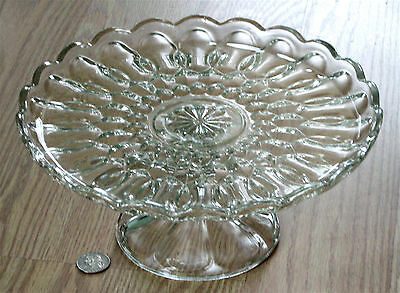 ANCHOR HOCKING huge CLEAR glass CAKE STAND pedestal FAIRFIELD pattern U.S.A.