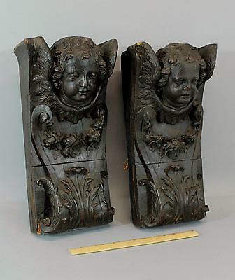 Pair Antique 19thC Architectural Fragments, Carved Oak Angels, Wall Sconces, NR