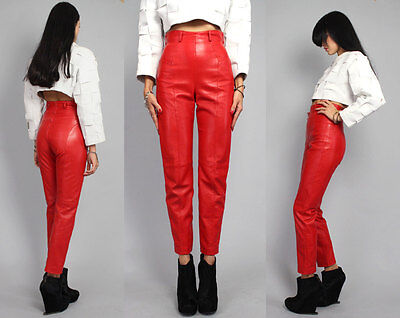 Vintage 1980s Michael Hoban North Beach Leather High Waist Pants Size S