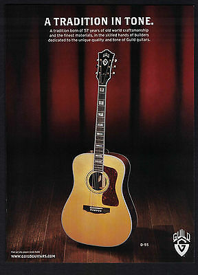 """2010 Print Ad Guild Guitars D-55 """"A Tradition in Tone."""""""