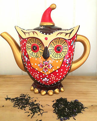 Teapot Hand Painted Ceramic Quirky Owl Novelty Tea Pot 1.5L