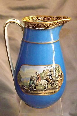 "ANTIQUE PRATTWARE 7 INCH HIGH PITCHER ""Hunting Scene"" & ""Rural LIfe Wash Day"""
