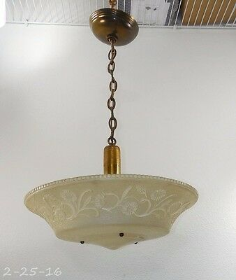 Antique Art Deco Large White Embossed Flowers Frosted Ceiling Light Chandelier
