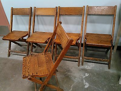 Vintage Antique Snyder Wood Oak Wooden Folding Chairs Set of 5
