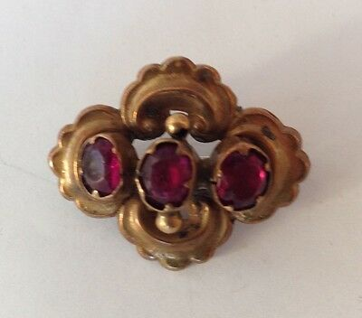 """Antique Victorian Edwardian Brooch Pin Three Large Red Stones 1 1/4"""" x 1"""""""