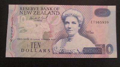 New Zealand $10 Kate Sheppard note. Serial# ET965939