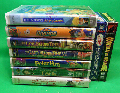 VHS Lot of 9 New Groove, Digimon, The Land Before Time vol.3,5, Peter Pan, Richi