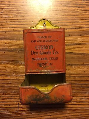 ANTIQUE MATCH STICK HOLDER ADVERTISING CUENOD DRY GOODS CO McGREGOR TEXAS USA