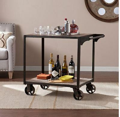 Kitchen Home Bar Cart Rolling Console Wine Serving Table Rustic Metal Industrial