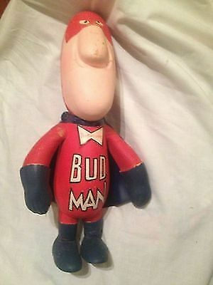 Vintage 1970's HTF Budweiser Bud Man Advertising Large Foam Doll with Cape