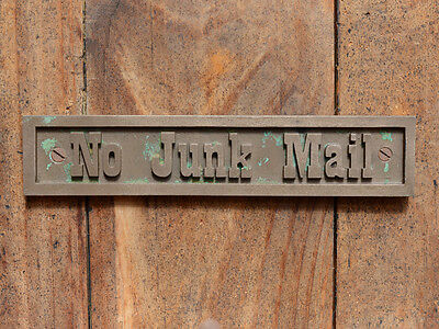 """""""NO JUNK MAIL"""" Cast Bronze Resin, Post Box, Mail Box or Brick Wall Plaque Sign"""