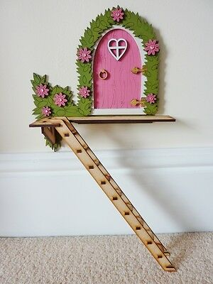"""Pink """"The Tree House"""" Hand Painted Fairy Door With Ladder Magical Gift"""