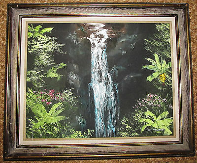 Hawaii SIGNED ORIGINAL PAINTING WATERFALL Landscape P Palafox No Date Crackle
