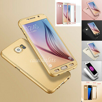 360° Full Shockproof Hard Case Cover Tempered Glass Fr Samsung Galaxy S6/S7 edge