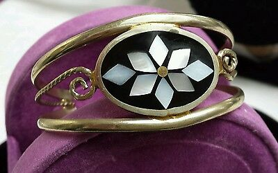 VINTAGE ALPACA  925 Silver Onyx ENAMEL MOTHER PEARL   Bangle CUFF BRACELET