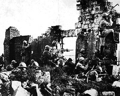 New 8x10 World War I Photo: French Troopers Among Cathedral Ruins Near the Marne