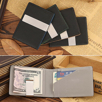Men's PU Leather Silver Money Clip Wallets Ultrathin Purses With Metal Clip