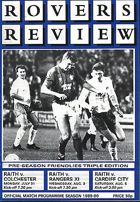 1989/90 Raith Rovers v Colchester/Rangers/Cardiff, friendlies, PERFECT CONDITION