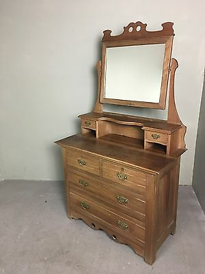 Beautiful Edwardian Antique Dressing Table Chest Of Drawers With Mirror