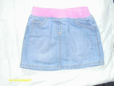 girls clothes florance & fred demin skirt pink elastic waist band age 3-4