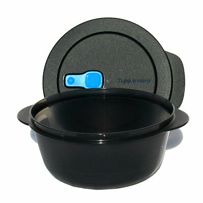 Tupperware Crystalwave Ezywave 1.5 litre Bowl Vent Rock Black / Blue Microwave