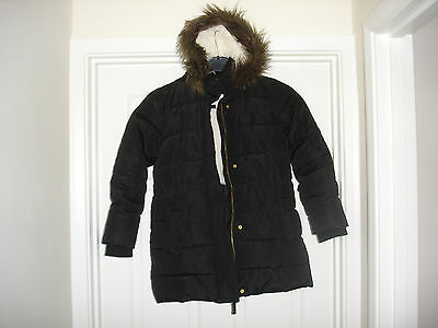 Girl's M & S Kids Black Polyester Winter Coat with hood for age 9 - 10 years old