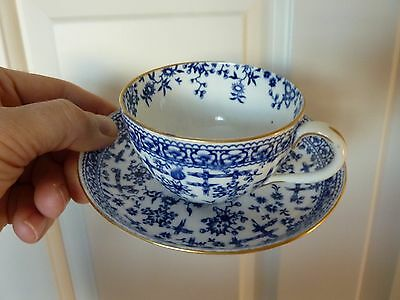 Derby cup and saucer Osborne Pattern c1850 Blue