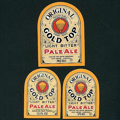 3 x Different Vintage Gold Top Pale Ale Beer Labels (Near Mint Condition)