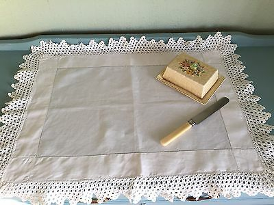 Vintage White Linen Crocheted Tray Cloth Ideal Christmas Present